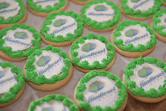 Frosted sugar cookies with Iowa Biodiesel Board logo.